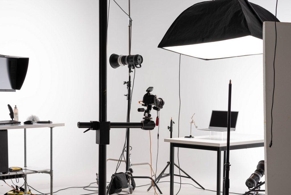 equipo de iluminación fotográfica profesional